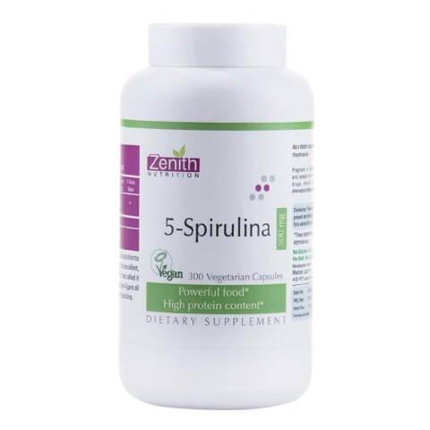 Zenith Nutrition 5-Spirulina (500mg),  300 capsules