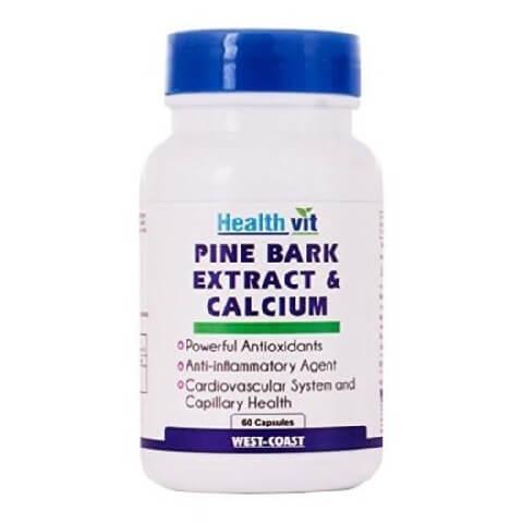 Healthvit Pine Bark Extract & Calcium,  60 capsules