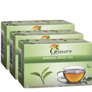 Grenera Moringa Green Tea,  20 Piece(s)/Pack  Natural  - Pack of 3