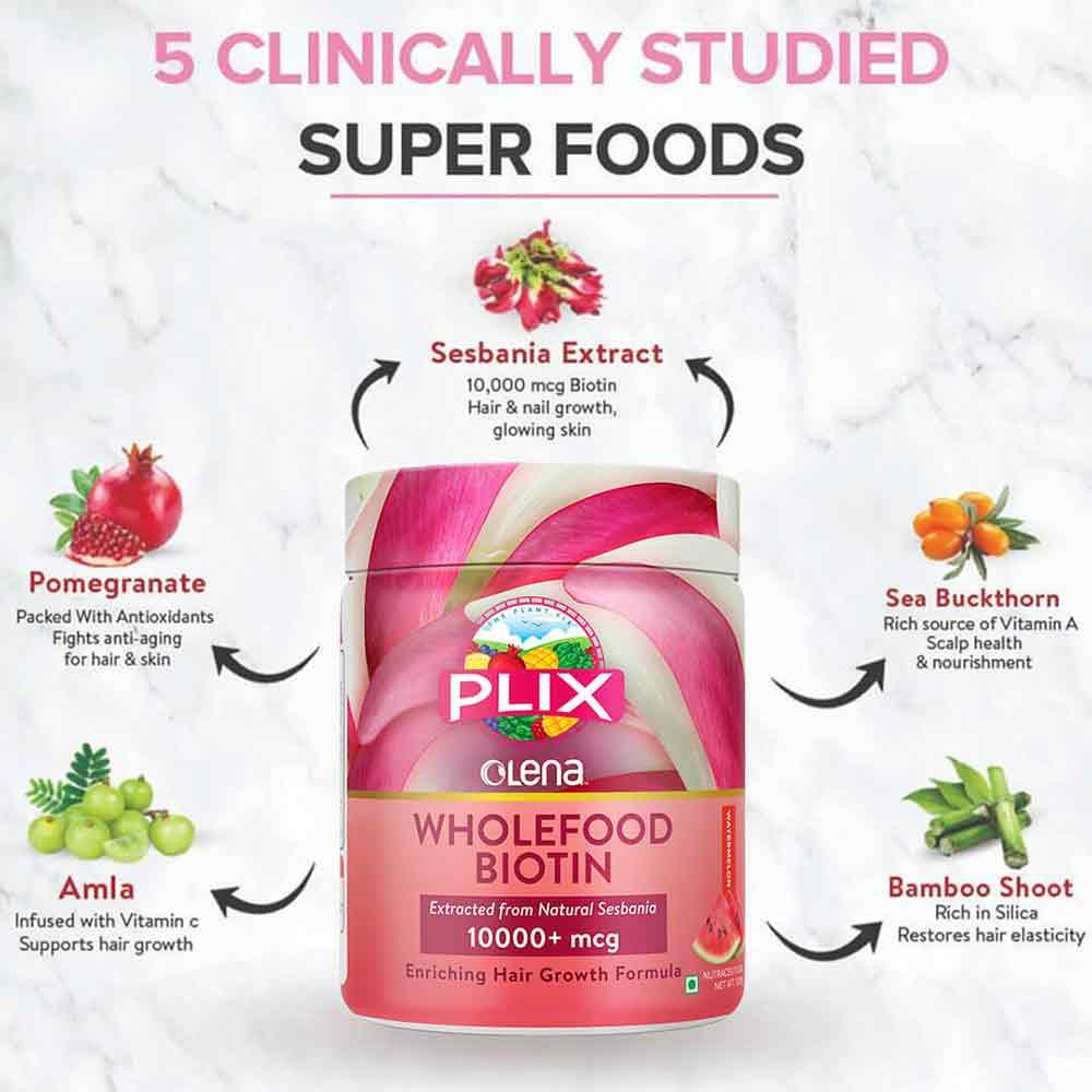 4 - Plix Olena Plant Based Biotin 10000 mcg,  240 g  Watermelon