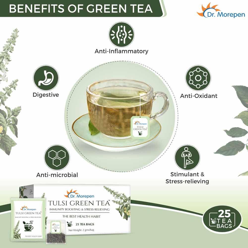 3 - Dr. Morepen Tulsi Green Tea (Pack of 2),  25 Tea Bag(s)  Unflavoured