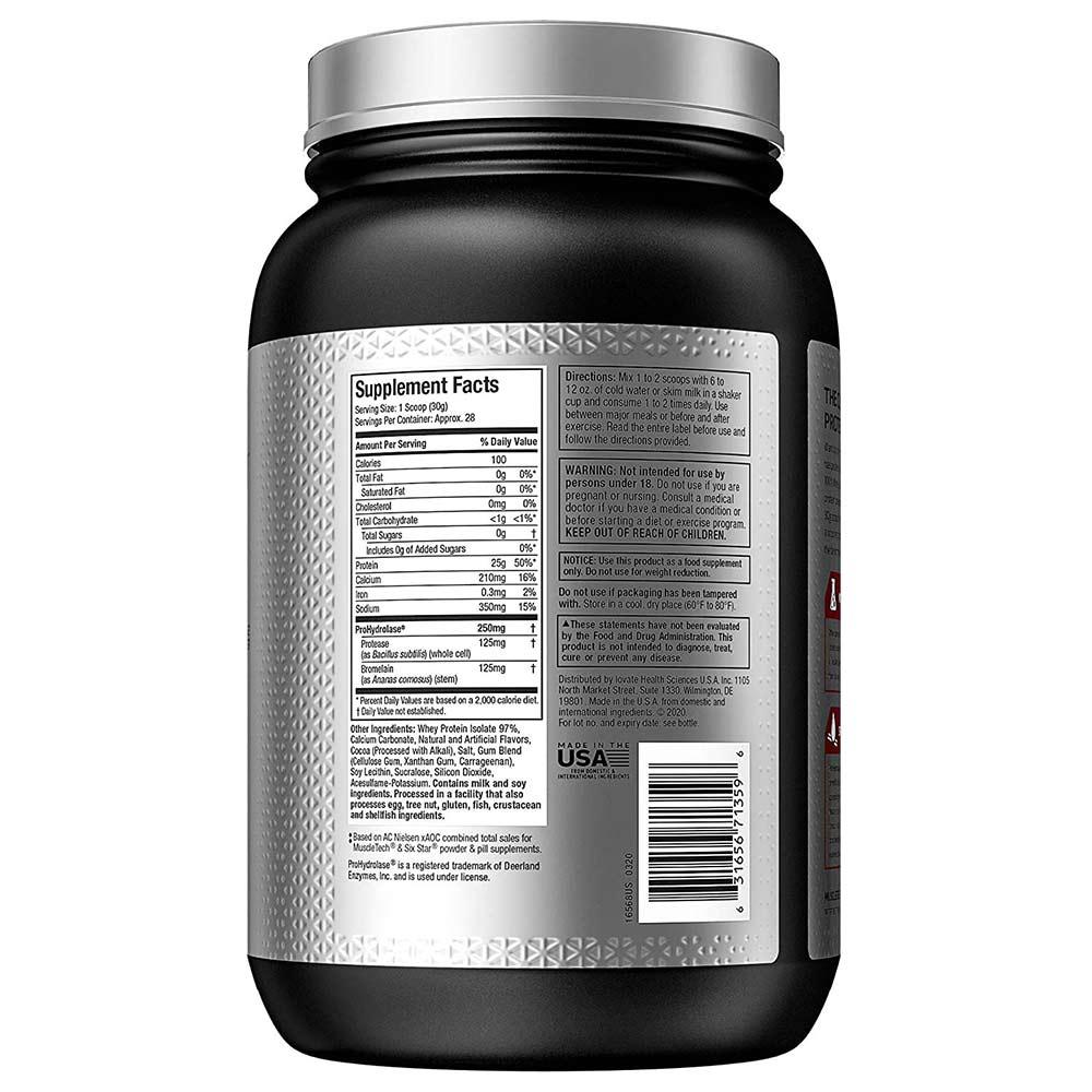supplementinfo - MuscleTech Nitro Tech Elite 100% Whey Isolate,  1.8 lb  Milk Chocolate
