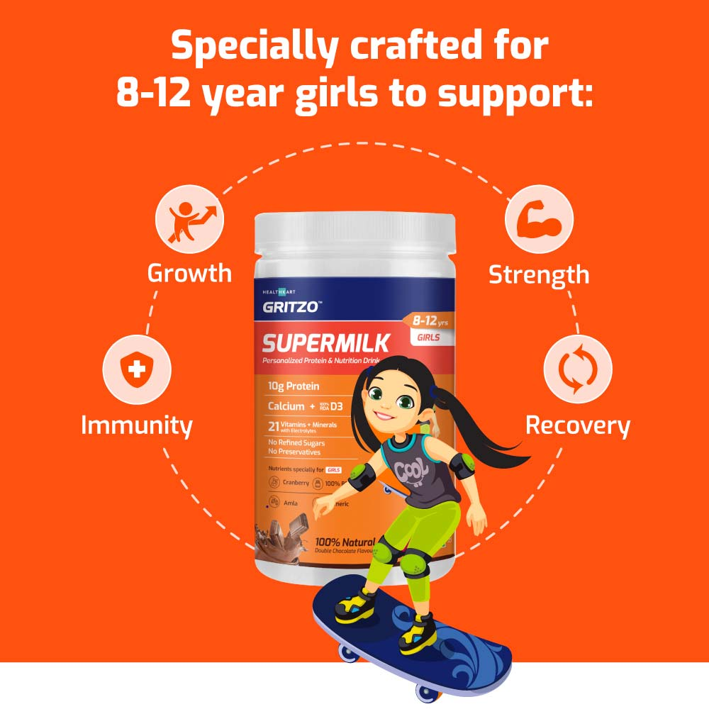 7 - Gritzo Super Milk Young Athlete Kids Girls Protein & Nutrition Drink 8-12y,  400 g  Natural Double Chocolate