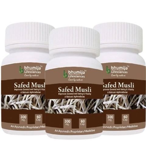 Bhumija Safed Musli - Pack of 3, 60 capsules