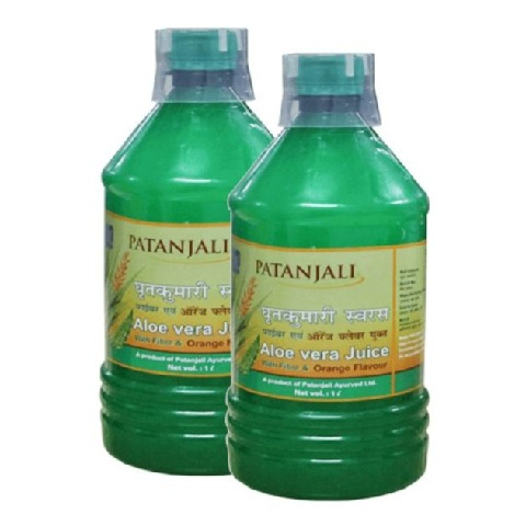 Patanjali Aloe Vera Juice Fiber & Orange Pack of 2 1 L