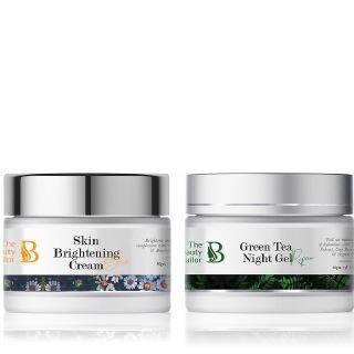 The Beauty Sailor Skin Brightening Cream 50 g & Green Tea Night Gel Combo,  50 g  for All Skin Type