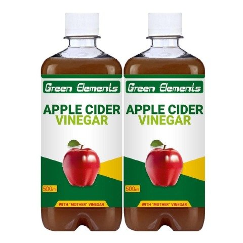 Green Elements Apple Cider Vinegar - Pack of 2 0.5 L Unflavoured
