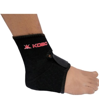 KOBO Neoprene Adjustable Ankle Support (3642),  Black  Free Size
