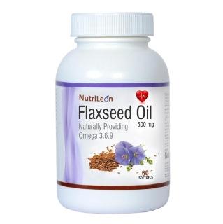 NutriLeon Flaxseed Oil (Omega 3 6 9),  60 softgels