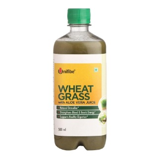 Unifibe Wheat Grass with Aloe Vera Juice,  Unflavoured  0.5 L