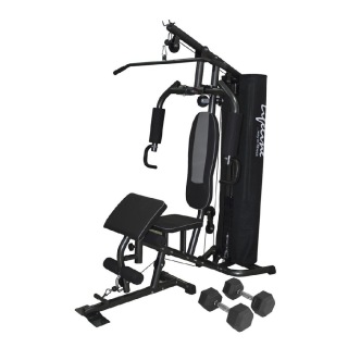 Lifeline 68 kg Deluxe Gym for Workout at Home with Round Pipe Cover and Preacher Curl Bonus 5 kg Dumbbells Pair