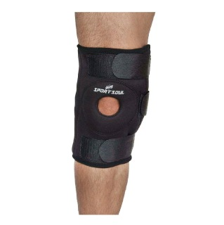1 - SportSoul Hinged Knee Support with Open Patella,  Black  Xtra Large