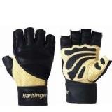 Harbinger Big Grip II WristWrap Gloves,  Black/Natural  Medium