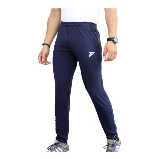 2 - Fitinc Dobby Lycra Trackpant with Two Side Zipper Pockets,  Navy Blue  Medium