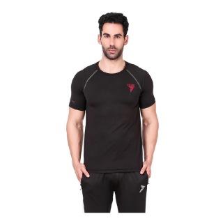 2 - Fitinc Round Neck Gym T Shirt,  Black  XL